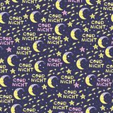 Cute seamless pattern for baby with moon and stars. Good Night. Stock Photo