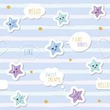 Cute seamless pattern background with cartoon kawaii stars and speech bubbles. For little boys babies clothes, pajamas Stock Illustration