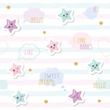 Cute seamless pattern background with cartoon kawaii stars and speech bubbles. For little girls babies clothes, pajamas Stock Image