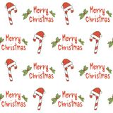 Cute seamless vector pattern background illustration with candy cane and hand drawn merry christmas text. Cute seamless pattern background illustration with Royalty Free Stock Photo
