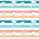 Cute seamless pattern background illustration with flamingos, hibiscus flowers and palm tree on colorful stripes. Cute seamless vector pattern background Stock Images