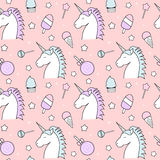 Cute seamless pattern background illustration with unicorn, candy, lollipop, ice cream, stars and cupcake. Cute seamless vector pattern background illustration Stock Image