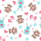 Cute seamless pattern with bear, hare, bow and heart Royalty Free Stock Photography