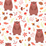 Cute seamless pattern with bears in forest Stock Image