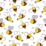 Cute seamless pattern with bee, flowers and hearts. royalty free illustration