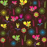 Cute seamless pattern with bird and flower for the Royalty Free Stock Photos