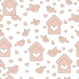Seamless pattern with birds, birdhouses and hearts. Cute seamless pattern with birds, birdhouses and hearts.Template for design, fabric, print. Greeting card Royalty Free Stock Photos
