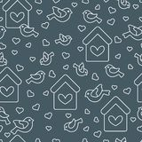 Cute seamless pattern with birds, birdhouses and hearts.Template for design, fabric, print. Greeting card Valentine`s Day. Vector. Cute seamless pattern with royalty free illustration