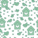 Seamless pattern with birds, birdhouses and hearts. Cute seamless pattern with birds, birdhouses and hearts.Template for design, fabric, print. Greeting card Stock Photo
