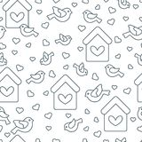Seamless pattern with birds, birdhouses and hearts. Cute seamless pattern with birds, birdhouses and hearts.Template for design, fabric, print. Greeting card Stock Photos