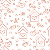 Seamless pattern with birds, birdhouses and hearts. Cute seamless pattern with birds, birdhouses and hearts.Template for design, fabric, print. Greeting card Royalty Free Stock Image