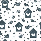 Cute seamless pattern with birds, birdhouses and hearts.Template for design, fabric, print. Greeting card Valentine`s Day. Vector. Cute seamless pattern with vector illustration