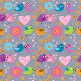 Cute seamless pattern with birds on the day of Saint Valentine Stock Image