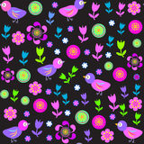 Cute seamless pattern with birds and flowers for t Royalty Free Stock Images