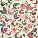 Cute seamless pattern with birds and hearts. Vector illustration Stock Images