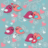 Cute seamless pattern with birds in love with family Royalty Free Stock Photography