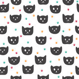 Cute seamless pattern with black cats Stock Photos