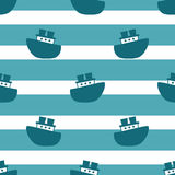Cute seamless pattern with blue boats Royalty Free Stock Images