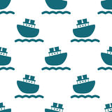 Cute seamless pattern with blue boats and waves. Vector illustration for birthday, anniversary, party invitations, scrapbooking, prints, fabric, cards. Marine royalty free illustration