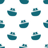 Cute seamless pattern with blue boats on the white background. Vector illustration for birthday, anniversary, party invitations, scrapbooking, prints, fabric Stock Photos