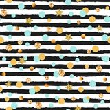 Cute seamless pattern with blue and golden circles and stars, black and white stripes royalty free illustration