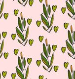 Cute seamless pattern with branches and hearts in pastel and green colors. Floral texture in Vector Illustration