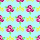 Seamless pattern crown and flowers - vector, illustration, eps vector illustration