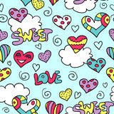 Seamless pattern with bright hearts Royalty Free Stock Photography