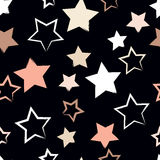 Cute  seamless pattern . Brush strokes, stars.  Endless texture can be used for printing onto fabric or paper Stock Photography