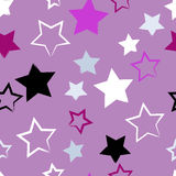 Cute  seamless pattern . Brush strokes, stars.  Endless texture can be used for printing onto fabric or paper Stock Images