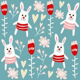 Cute seamless pattern with bunnies, hearts and flowers,  illustration background Royalty Free Stock Images