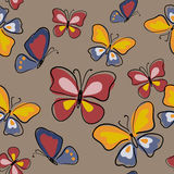 Cute seamless pattern with butterflies on beige background. Cute seamless pattern with a butterflies on beige background Royalty Free Stock Photo