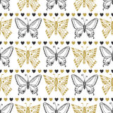 Cute seamless pattern of butterflies black and gold colors. Hand drawn vector background. Can be used for wrapping, packeging and Stock Photo