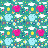 Cute seamless pattern with butterflies and elephants. Cute seamless pattern with a butterflies and elephants vector illustration