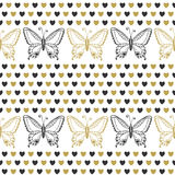 Cute seamless pattern with butterflies and hearts  black and gold colors. Hand drawn vector background. Can be used for wrapping, Royalty Free Stock Photo