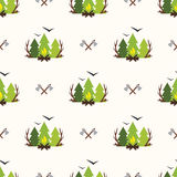 Cute seamless pattern camping. In the woods with the image of the forest, fire and birds. The adventure background Stock Photos