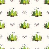 Cute seamless pattern camping Stock Photos