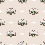 Cute seamless pattern camping. In the woods with the image of mountains, fire, fish Stock Photo