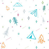 Cute seamless pattern camping in the woods.vector illustration for you design Stock Photography