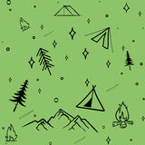 Cute seamless pattern camping in the woods.vector illustration for you design Royalty Free Stock Photo