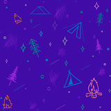 Cute seamless pattern camping in the woods.vector illustration for you design Stock Photo