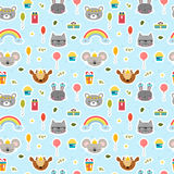 Cute seamless pattern with cartoon animals. Happy Birthday theme. Sweet background for children Royalty Free Stock Photo