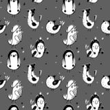 Cute seamless pattern with cartoon bird. Black and white background twxture with birds in hat. stock illustration