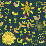Cute  seamless pattern with cartoon bird and flowe Stock Photos