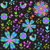 Cute seamless pattern with cartoon bird and flower Stock Photo