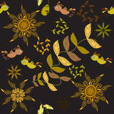 Cute seamless pattern with cartoon bird and flower Stock Images