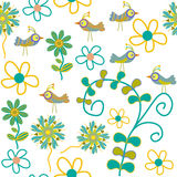 Cute vector  seamless pattern with cartoon bird an Royalty Free Stock Photography