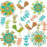 Cute vector seamless pattern with cartoon bird and Stock Images