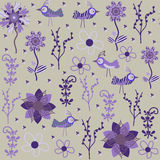 Cute seamless pattern with cartoon bird and flower Royalty Free Stock Images