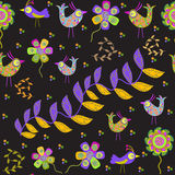 Cute seamless pattern with cartoon bird and flower Stock Photography
